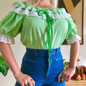 Vintage 70s gingham off shoulder peasant blouse ML